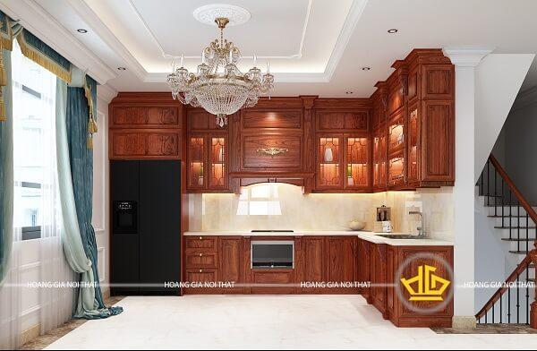 Tủbếpgỗ hương chữ L - Tủ nhà bếp gỗ tự nhiên