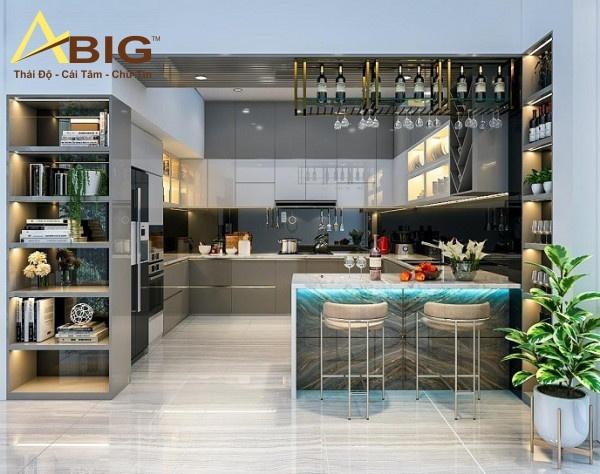 Thiết kế nội thất bếp chung cư thông thoáng