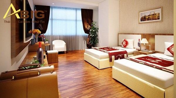 Ga trải giường, gối, chăn, len, rèm trong phòng khách sạn đẹp