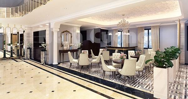 Màu sắc hài hòa, đẹp của sảnh khách sạn theo phong cách cổ điển