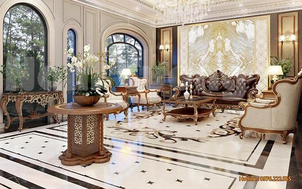 Sảnh khách sạn cổ điển với màu trắng chủ đạo sang trọng, đẳng cấp