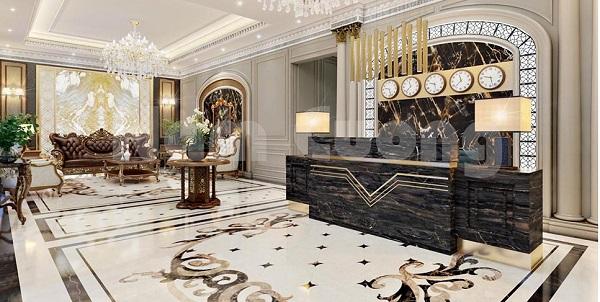 Sảnh khách sạn đẹp mắt, quý phái và sang trọng